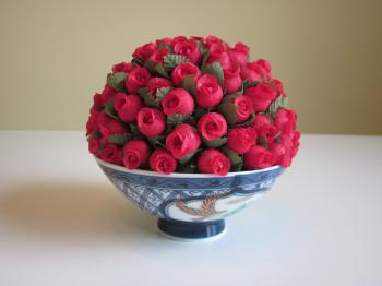 Mini Rosebud Half Moon Topiary in Bowl by Home Fashions