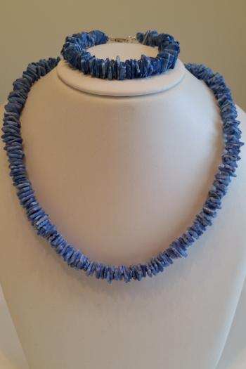 Dyed Blue Shell Demi-Parure (Necklace & Bracelet Set) by Sold Items