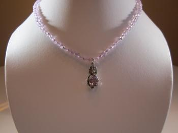Amethyst Bead Necklace with Vintage Amethyst-Marcasite-Sterling Pendant