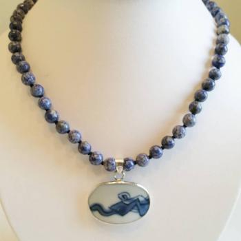 Antique China Shard Sterling Silver & Lapis Lazuli Beaded Necklace by Vintage Creations