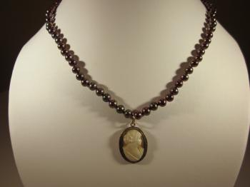 Vintage 1940's Shell Cameo Pendant & Bronze Pearl Necklace