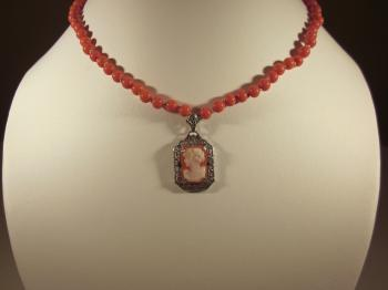 Victorian Cameo Pendant & Orange Coral Bead Necklace by Sold Items