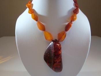 Free Form Natural Amber Bead Necklace by Necklaces