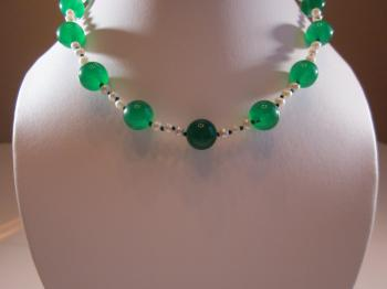 Green Onyx & Cultured White Freshwater Pearl Necklace by Necklaces