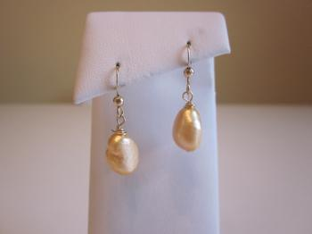 Champagne Freshwater Baroque Cultured Pearl Earrings by Earrings