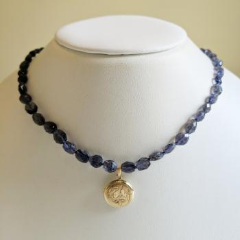 Vintage 14K Gold Round Locket & Iolite Beaded Necklace by Sold Items