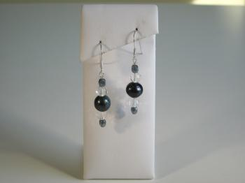 Black Peacock Pearl Drop Earrings
