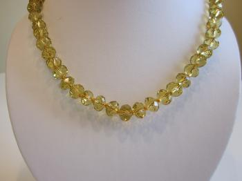 Vintage Citrine Crystal Beaded Necklace by Vintage Creations