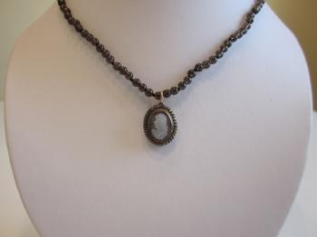 Smoky Quartz Beaded Necklace with Vintage Cameo Pendant by Vintage Creations