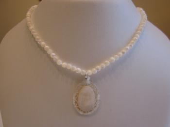 Mother of Pearl Beaded Necklace with Vintage Carved Mother of Pearl Pendant by Vintage Creations