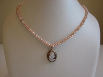 Vintage Shell Cameo Pink Cultured Freshwater Seed Pearl Necklace by Vintage Creations