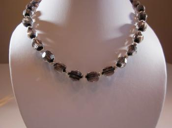 Vintage Smoke Crystal Necklace by Sold Items