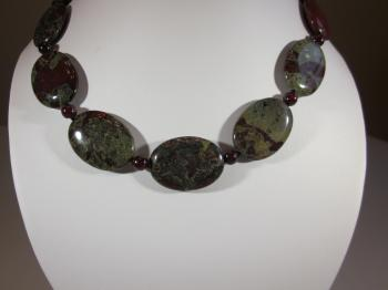 Oval Dragon Jasper & Red Garnet Bead Necklace by Sold Items