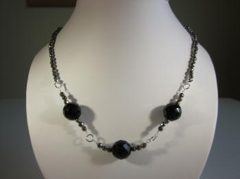 Pyrite & Black Onyx Beaded Necklace by Necklaces