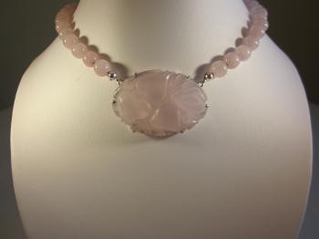 Rose Quartz Beaded Necklace with Antique Carved Pendant by Sold Items
