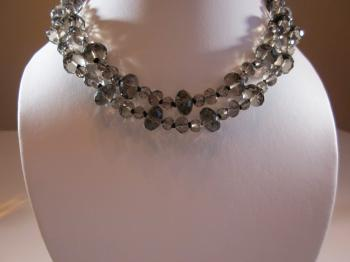 Two-Strand Fire Polished Smoke Crystal Bead Necklace