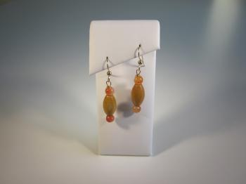 Yellow Agate & Carnelian Bead Earrings by Earrings