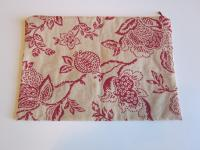 Red & Taupe Paisley Tapestry Fabric Lingerie Case