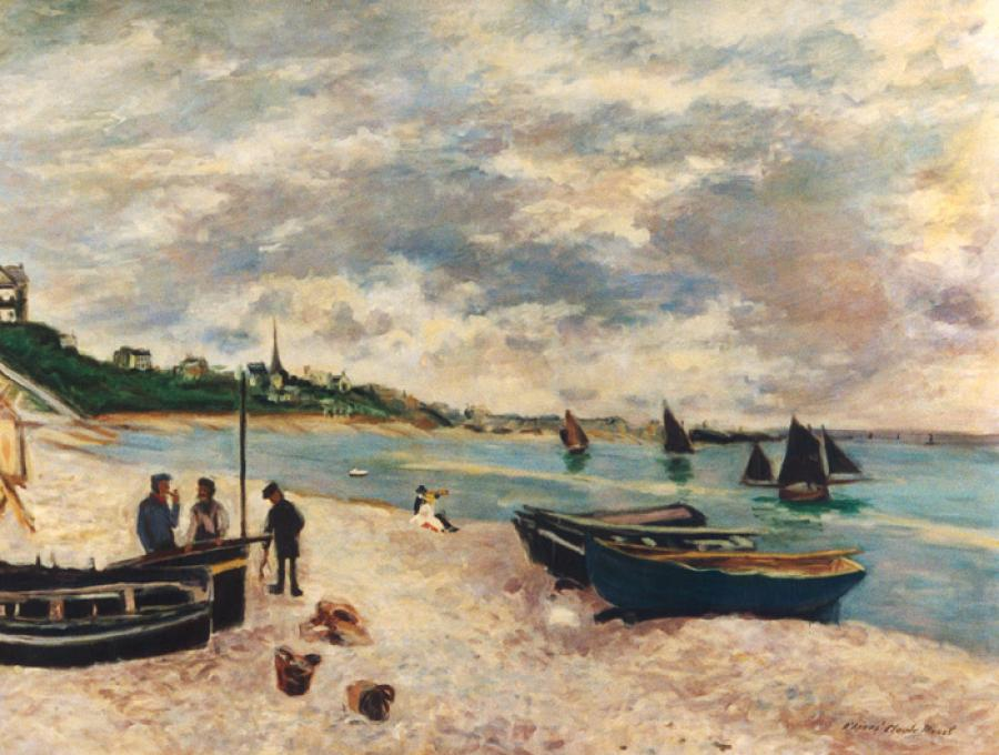 The Beach at Sainte Adresse  apres Claude Monet.