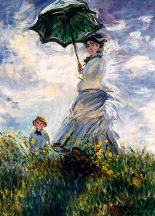 Woman with a Parasol apres Claude Monet.