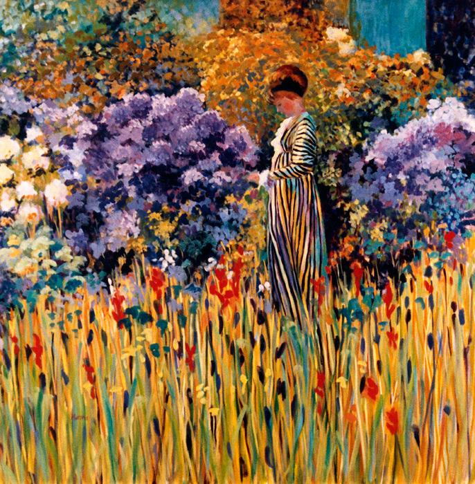 Lady in the Garden apres Frederick Frieseke.