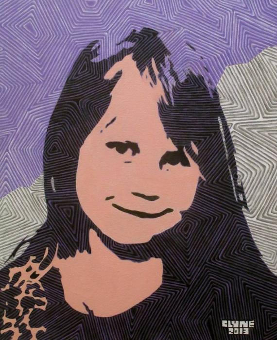 Girl With Purple And Gray Background. 20` by 24` Acrylic On Canvas. Currently Unavailable.