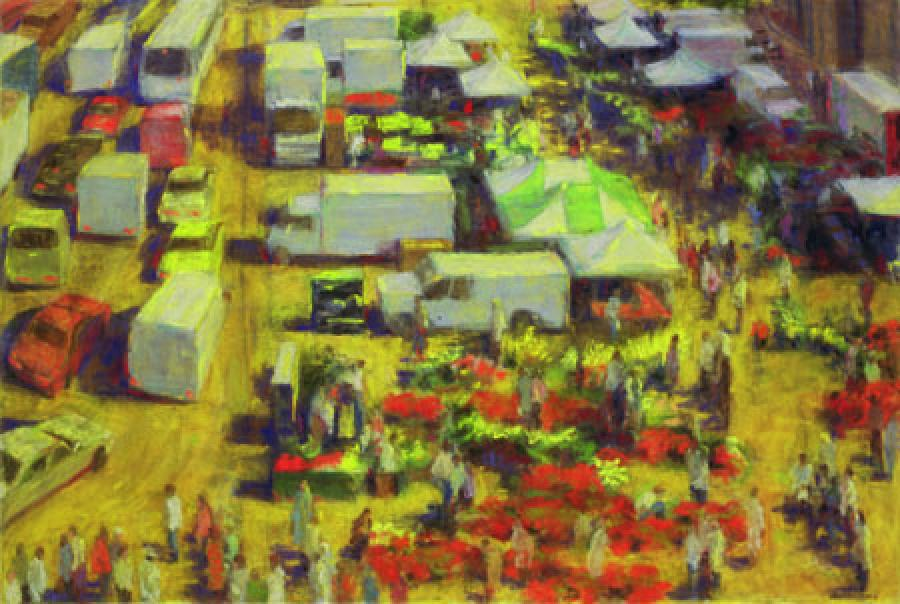 Friday`s Market. Friday`s Market<br />pastel	20.75 x 30.75<br /><br />Reach the artist at<br />718-482-9980<br />or<br />violetbaxter@aol.com<br />or<br />43-01 21st Street, Studio 335,<br />Long Island City, N.Y. 11101<br /><br />member: New York Artists Equity