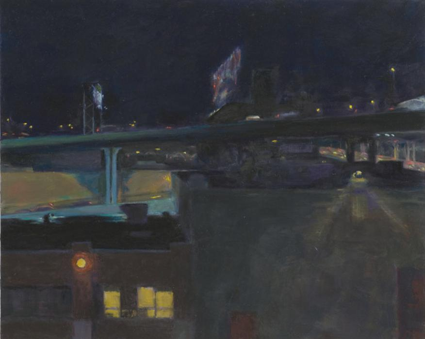 Bridge Night Lights. oil on panel:16x20<br /><br />Reach the artist at<br />718-482-9980<br />or<br />violetbaxter@aol.com<br />or<br />43-01 21st Street, Studio 335,<br />Long Island City, N.Y. 11101<br /><br />member: New York Artists Equity