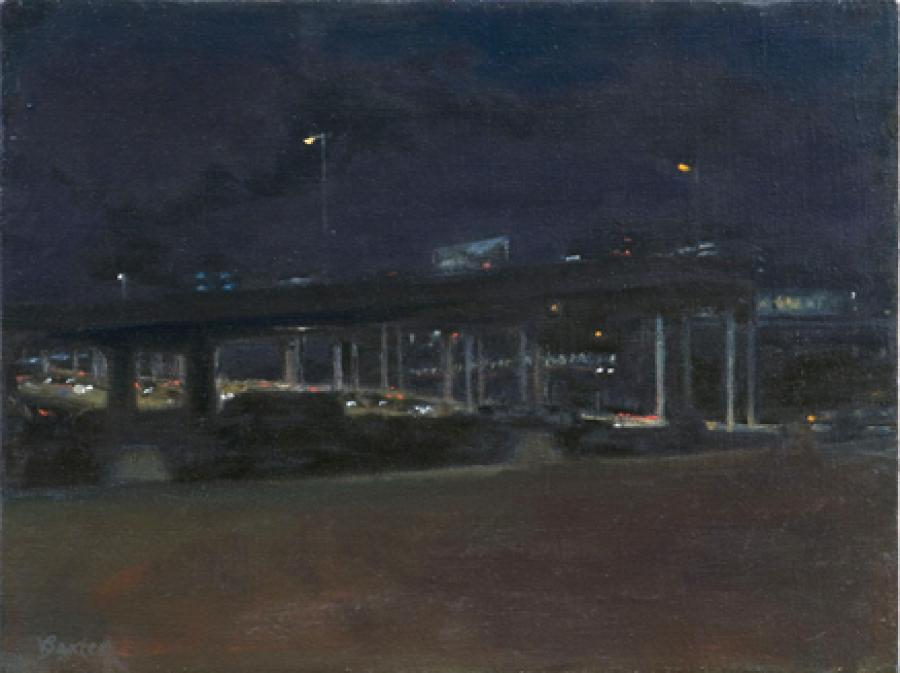 Bridge Nocturne. oil on linen12x16`<br /><br />Reach the artist at<br />718-482-9980<br />or<br />violetbaxter@aol.com<br />or<br />43-01 21st Street, Studio 335,<br />Long Island City, N.Y. 11101<br /><br />member: New York Artists Equity