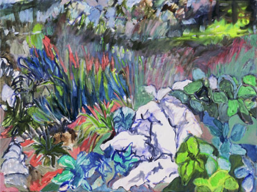 Stone Garden. oil on canvas	18` x 24`<br /><br />266 Henry St., Brooklyn, N.Y. 11201 <br />atlanticgallery.org <br /><br />Sally Brody