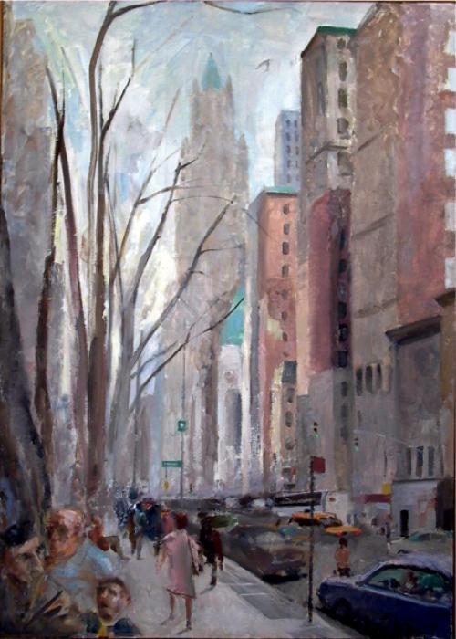Broadway and Thomas Street. Broadway and Thomas Street<br />oil on linen: 42` x 30`<br /><br />plc0000@hotmail.com<br />212-566-5155<br /><br />Peter Colquhoun: www.petercolquhoun.com