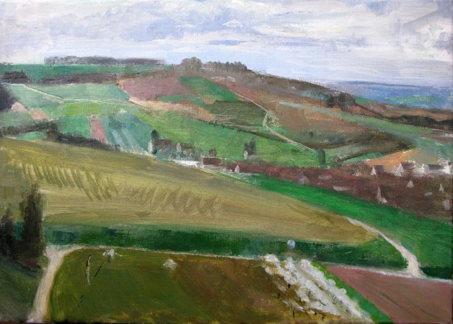 Irancy and Surrounding Hills, 2013. Irancy and Surrounding Hills, 2013<br />17 x 24 inches, oil on linen<br /><br />e-mail artist: www.petercolquhoun.com