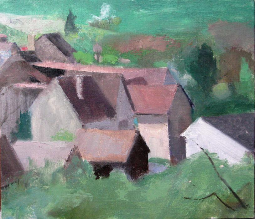 Irancy, Houses. Irancy, Houses <br />13 x 15 inches, oil on panel <br /><br />e-mail artist: www.petercolquhoun.com