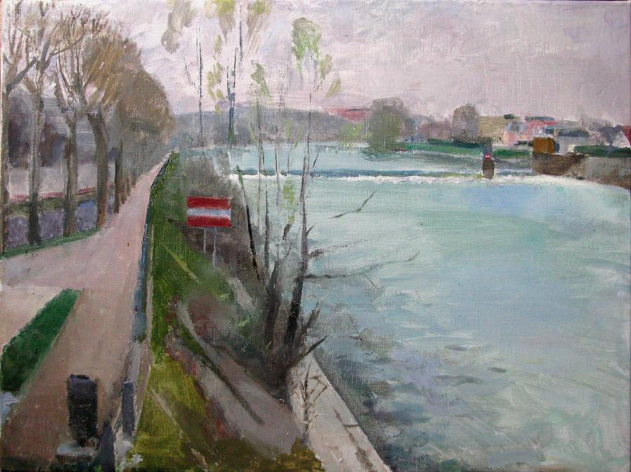 Joinville le Pont sur Marne, 18 x 24 inches, oil on linen.