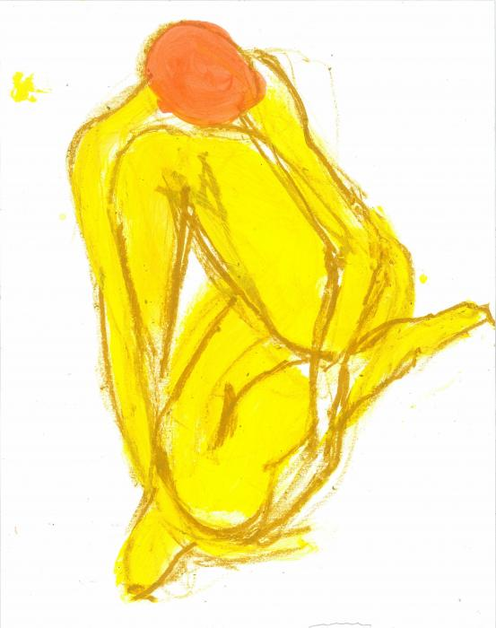Careful to Contain Her Regrets. 2012<br />Original: Acrylic and craypas on paper<br />10 x 13`<br />Private collection