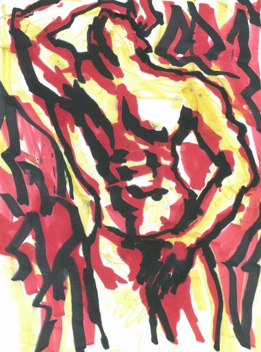 Being Questioning Being 3. Red, yellow, black marker