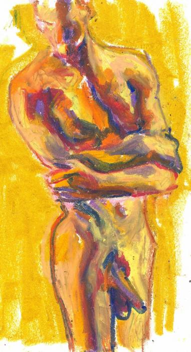 Being Questioning Being 1l. 2012<br />Original: Craypas on paper<br />9 x 12`<br />Private collection