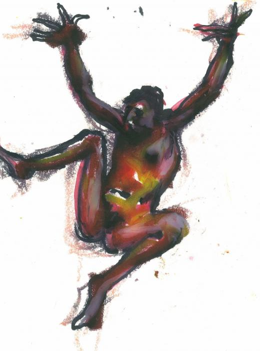 Total Leap. 2012<br />Original` Acrylic wash, marker and craypas on paper<br />9 x 12`<br />Private collection