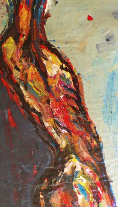Bright Shadow of Dawn. Acrylic on paper<br />36` x 18`