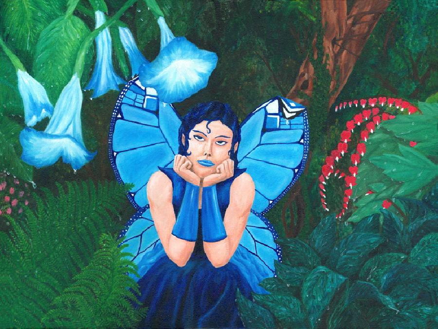 Little Fairy Blue - Spring. A wistful fairy sits in a forest during a spring rain. Her blue butterfly wings are soggy and the tip of one folds over with the weight of a drop of water on it. Lush foliage surrounds her, glistening with raindrops.
