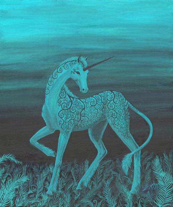 Eclipse Unicorn turquoise. Turquoise Unicorn sunset in ferns