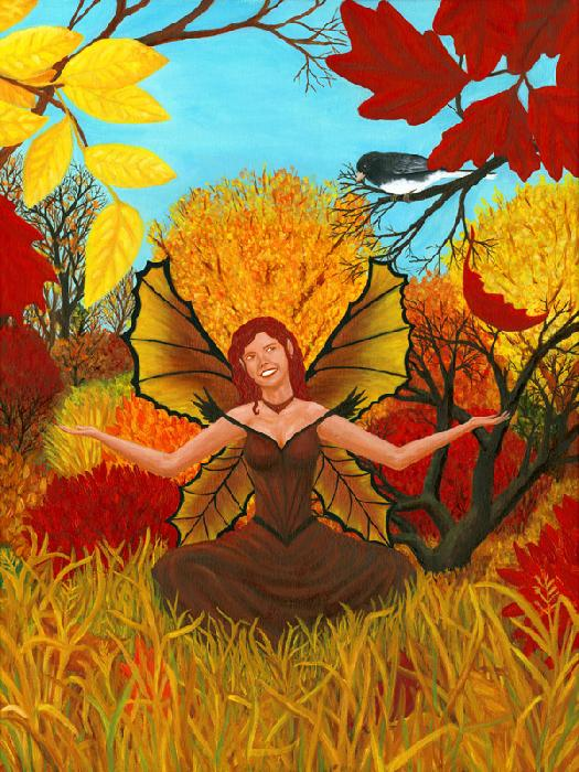 Autumn Joy Fairy. Cheerful, red haired fairy in her brown, autumn dress and striking wings, sits in a sunny meadow. She is surrounded by colorful, fall leaves and tall grass as a little bird looks on.
