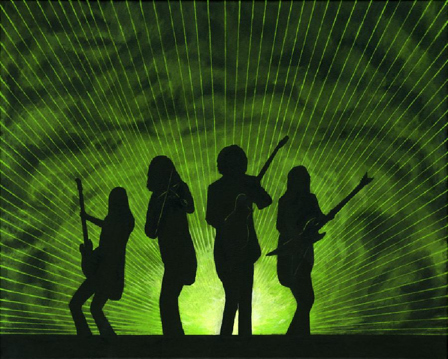 Madmen & Geniuses. Rock and Roll. My impression of Trans Siberian Orchestra. Silhouettes against laser and smoke effects background. Can be printed in various colors on black background. Dave Z, Mark Wood, Alex Skolnick, Chris Caffrey featured.