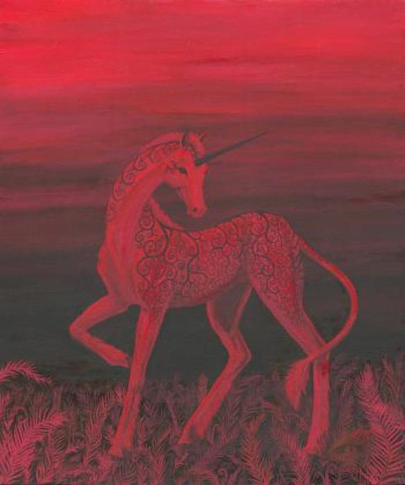 Eclipse Unicorn. Read unicorn in an eerie, red sunset in the ferns.