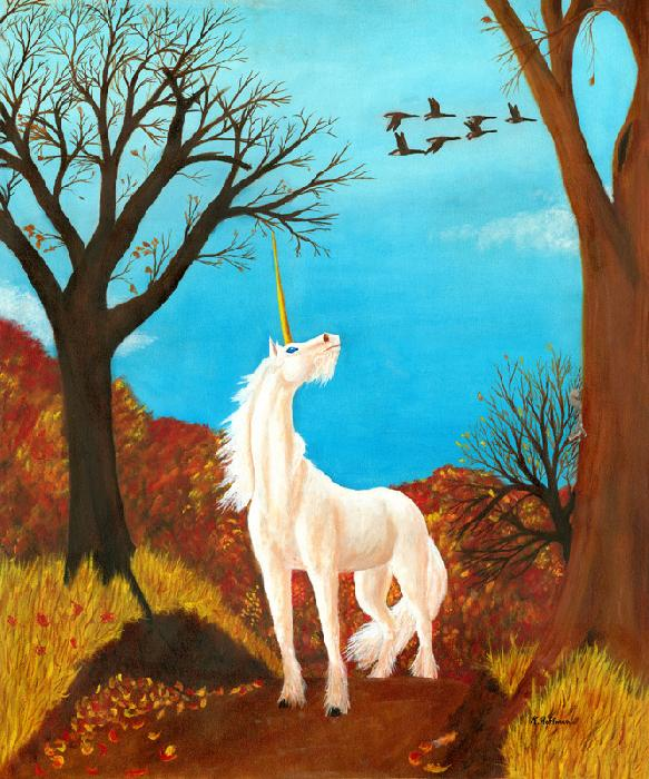 Autumn Unicorn. Wistful, blue eyed unicorn in the autumn of his life watches geese fly south and the trees change colors around him.