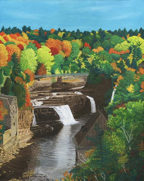 Waterfall. <p>Autumn in Maine, shows a refreshing waterfall cascading downt. Colorful leaves surround the valley and a bridge in the distance.</p>