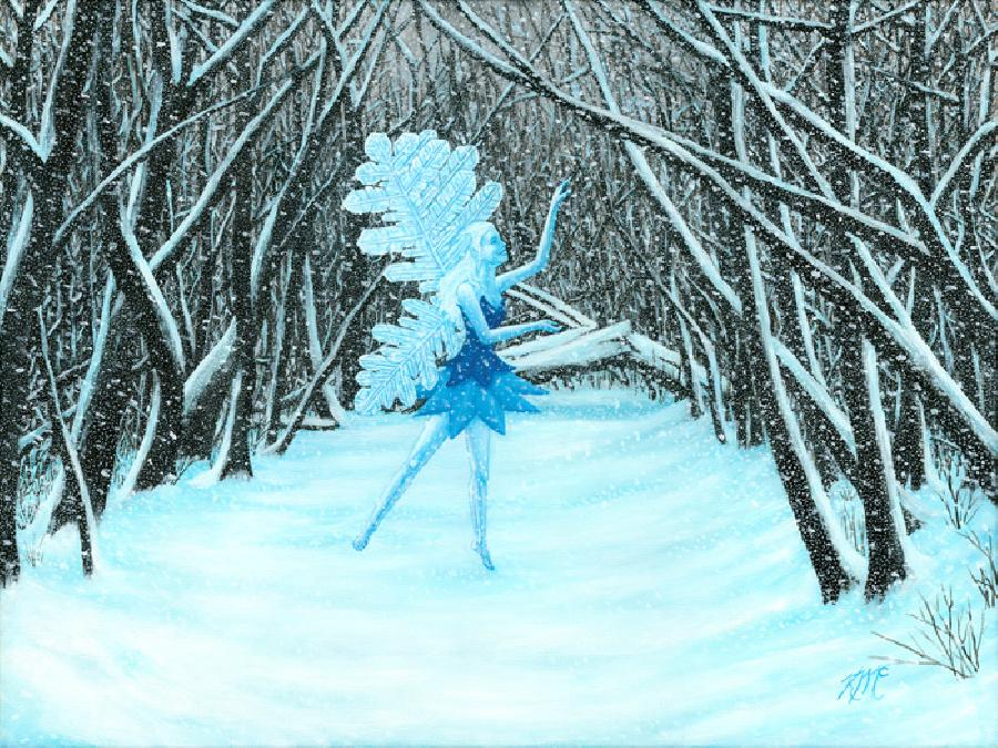 Winter Dance. A fairy dances through a winter glade with snow falling all around. Stark trees with snow on the branches surround her.
