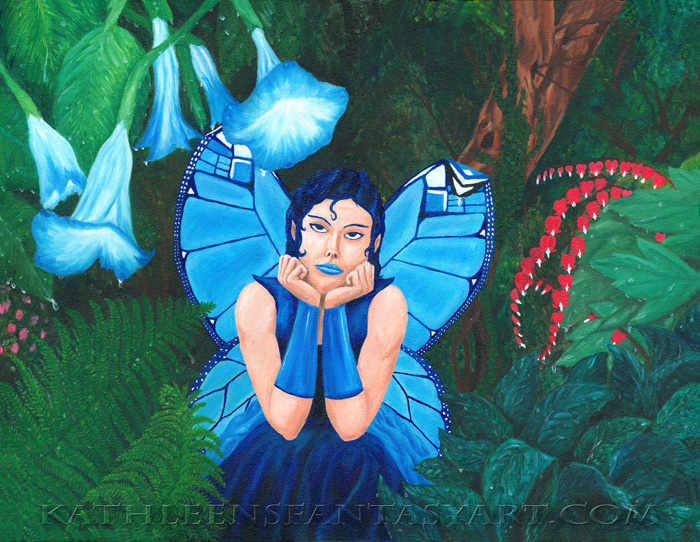 Large refrigerator magnet `Little Fairy Blue`