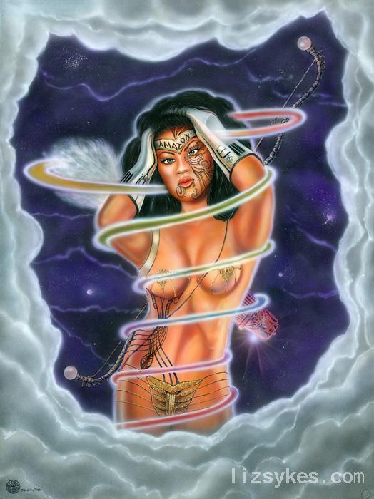 Amazon Woman. The original is in a private collection. This image is available on flat canvas prints or on gallery wrapped embellished canvas prints fit for a museum. <br />*Note-Contact artist for pricing if interested in gallery wrapped art.