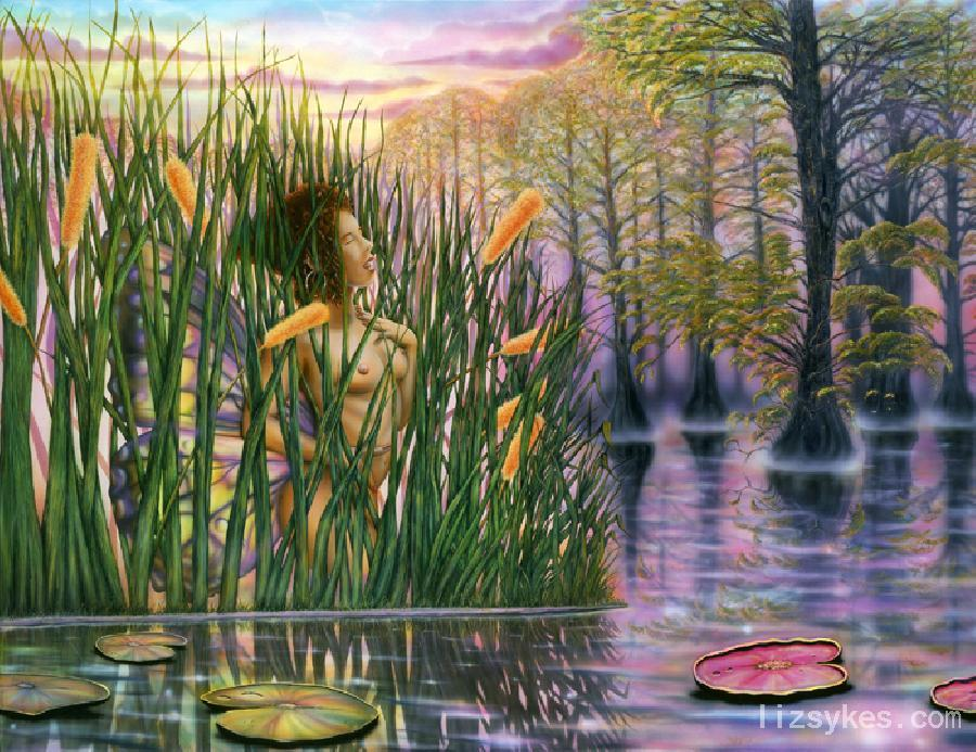 Cat Tails. The original is in a private collection. This image is available on flat canvas prints or on gallery wrapped embellished canvas prints fit for a museum. <br />*Note-Contact artist for pricing if interested in gallery wrapped art.